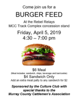 Culture Club Burger Feed - Friday, April 5