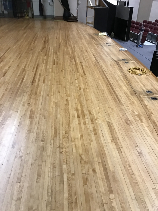 Newly refinished auditorium floor