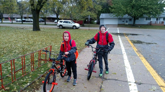 West Elementary students participating in the Bike/Walk to school day.