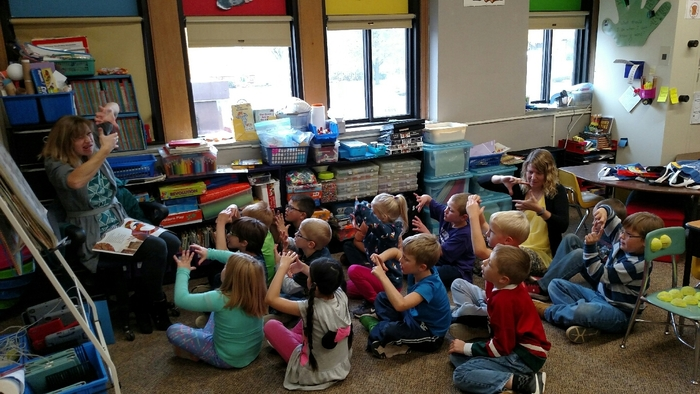 MCC Preschool, Kindergarten, and 1st grade students participate in the Read for the Record. They joined 2 million students reading today.