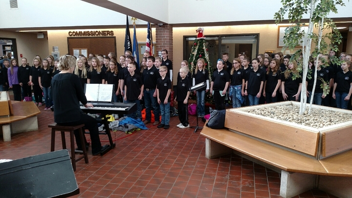 MCC Elementary Choir performing at the Government Center today.