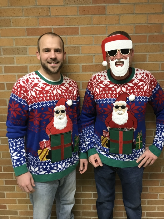Ugly Sweater Winners - Mr. Wieneke & Bob
