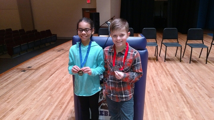 Congratulations to 4th grade Spelling Bee champion, Jayden, and runner-up Kaden.