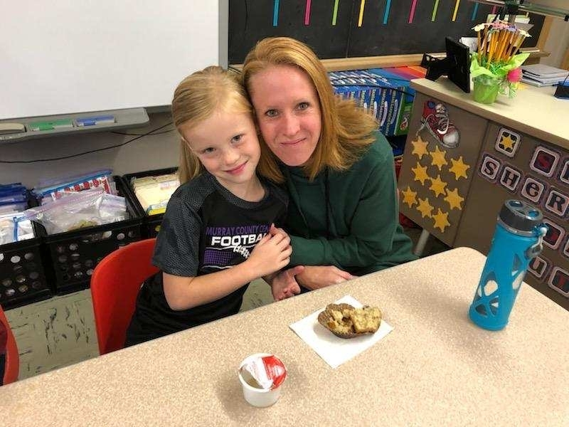 MCC kindergarten students invited a few special guests to share a muffin with this morning.