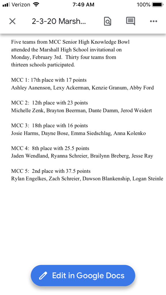 Knowledge Bowl results Marshall meet