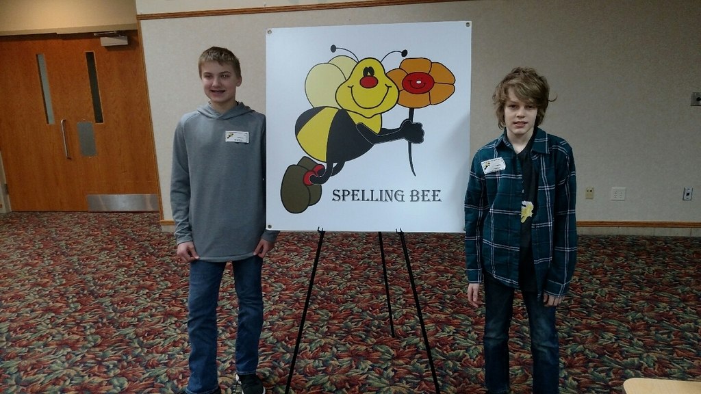Carson Engelkes and Remy Johnson participating in Regional Spelling Bee today.