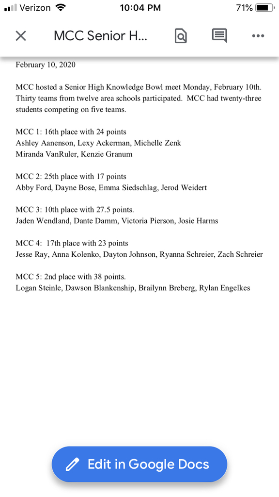 MCC Knowledge Bowl results 2/10/2020